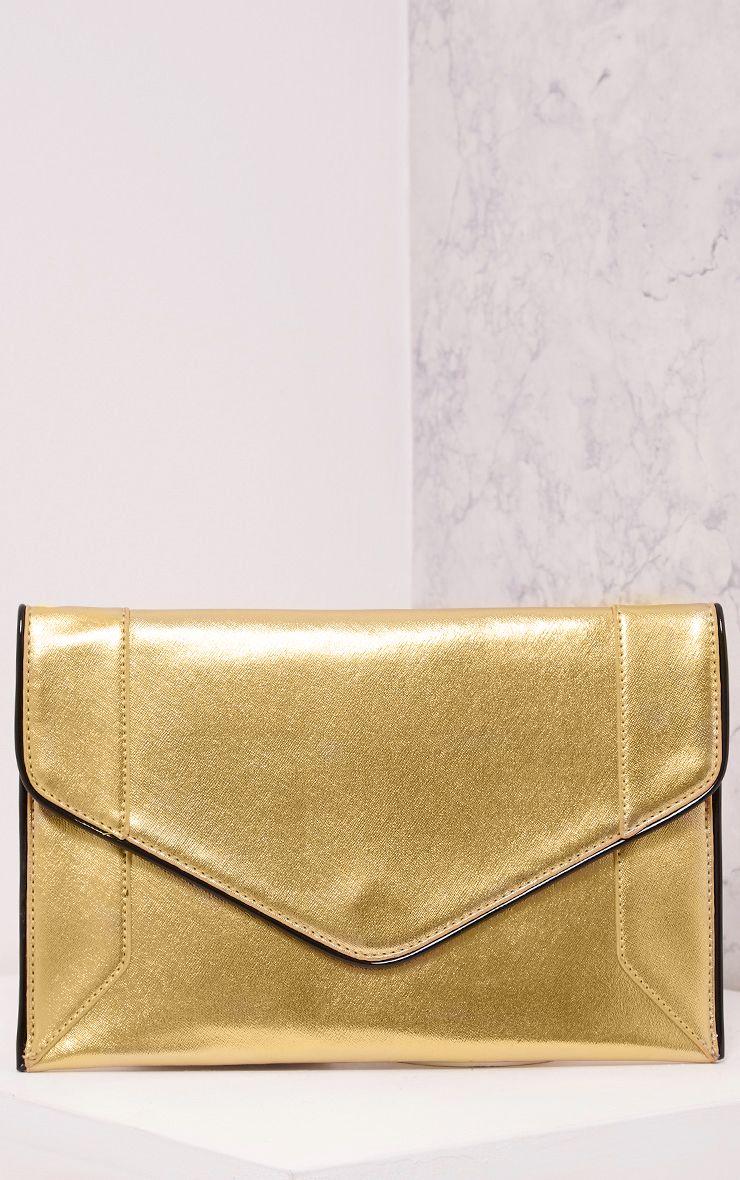 Wilona Gold Metallic Envelope Clutch