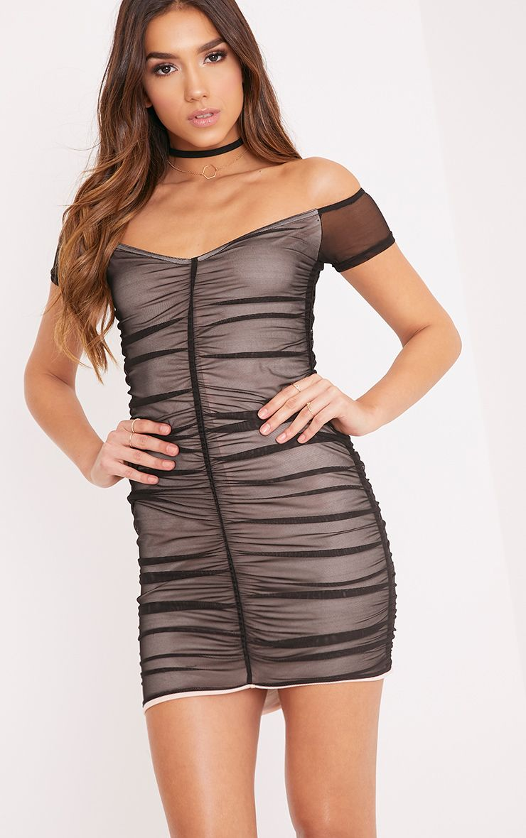 Billie Black Bardot Ruched Mesh Bodycon Dress