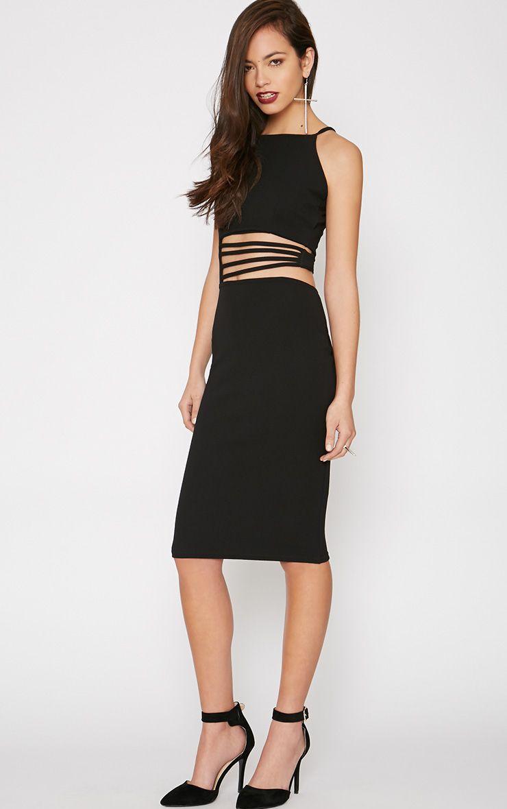 Circe Black Strap Waist Midi Dress 1