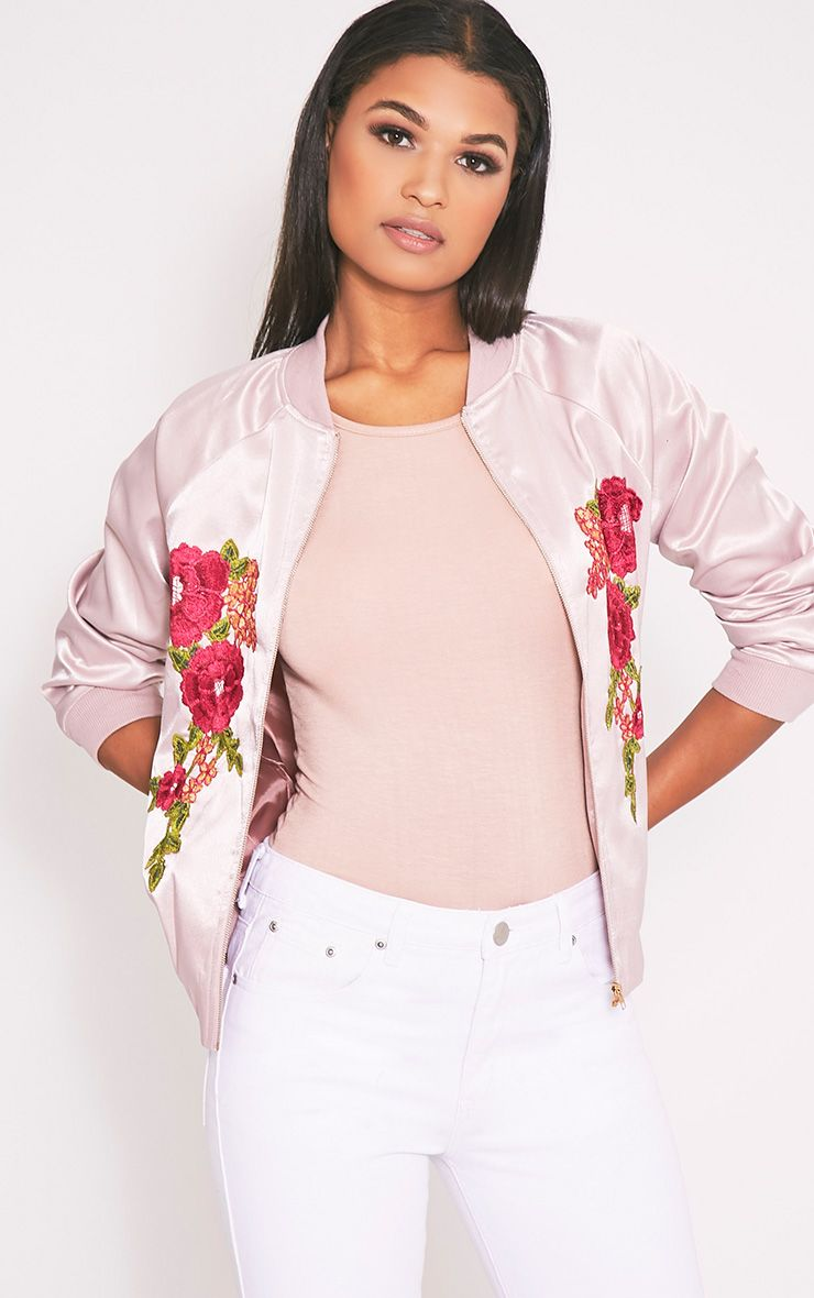 Challah Dusty Pink Satin Applique Bomber Jacket 1
