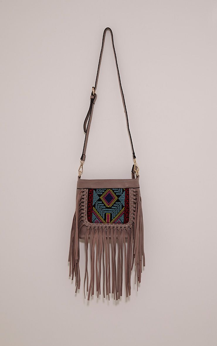 Serena Purple PU Tapestry Fringe Bag