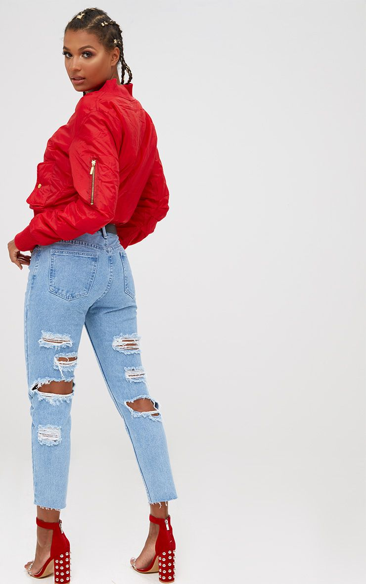 Light Wash Extreme Distressed Back Straight Leg Jean