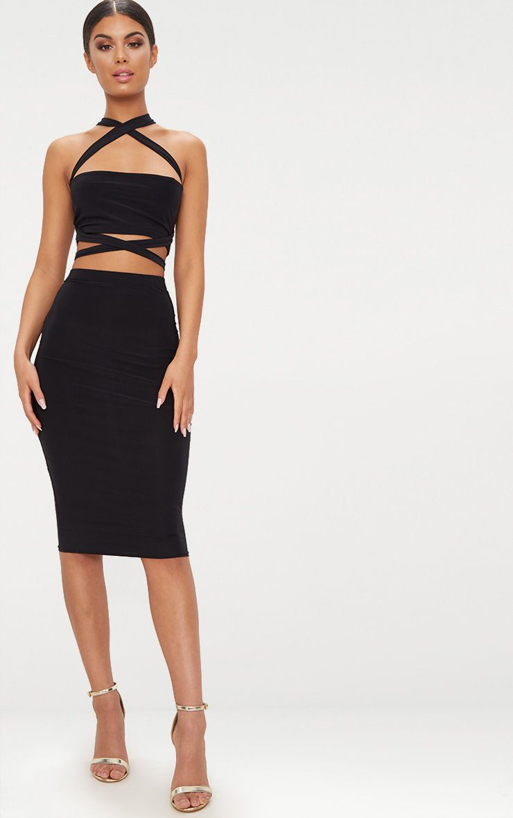 Black Slinky Midi Skirt
