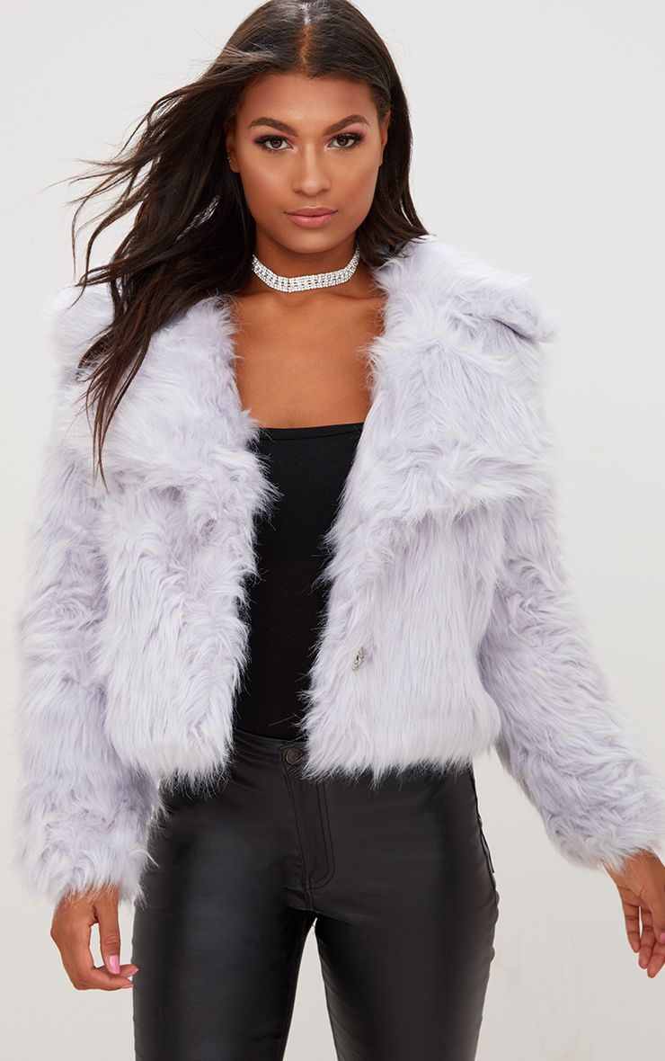 Ice Grey Faux Fur Jacket