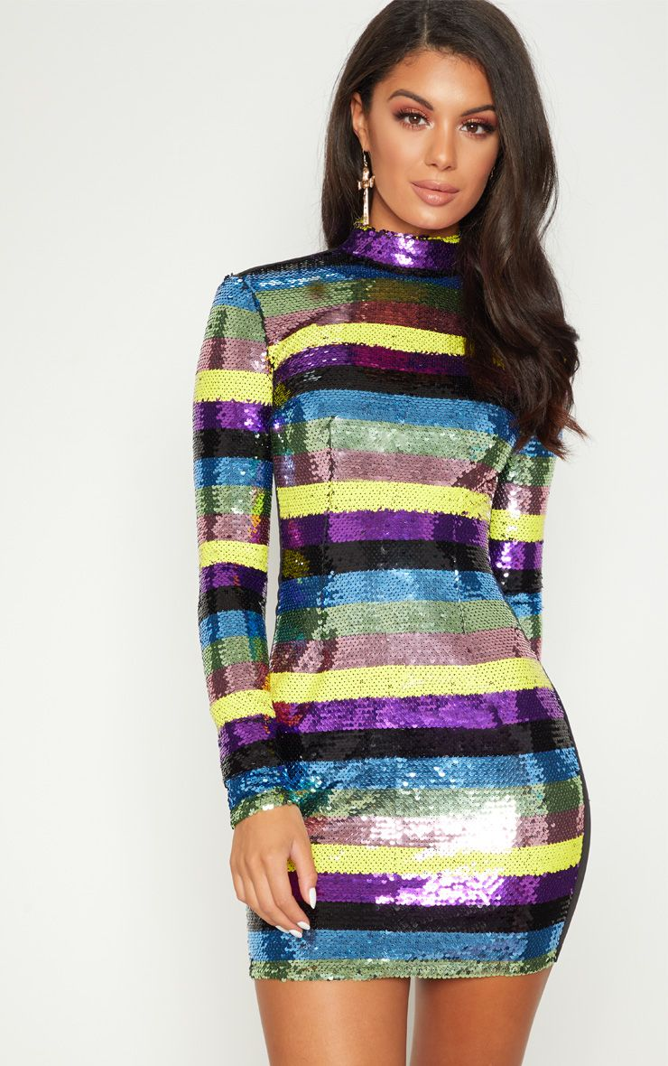 MULTI SEQUIN HIGH NECK LONG SLEEVE BODYCON DRESS