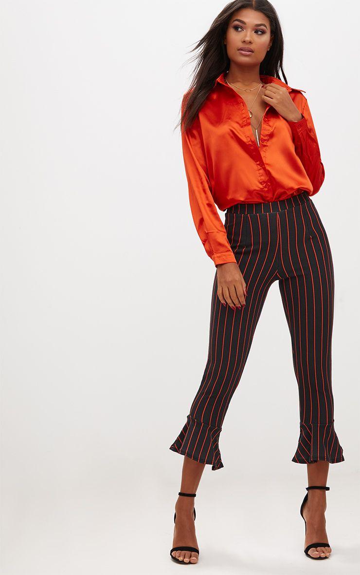 Black Pinstripe Flare Hem Trousers