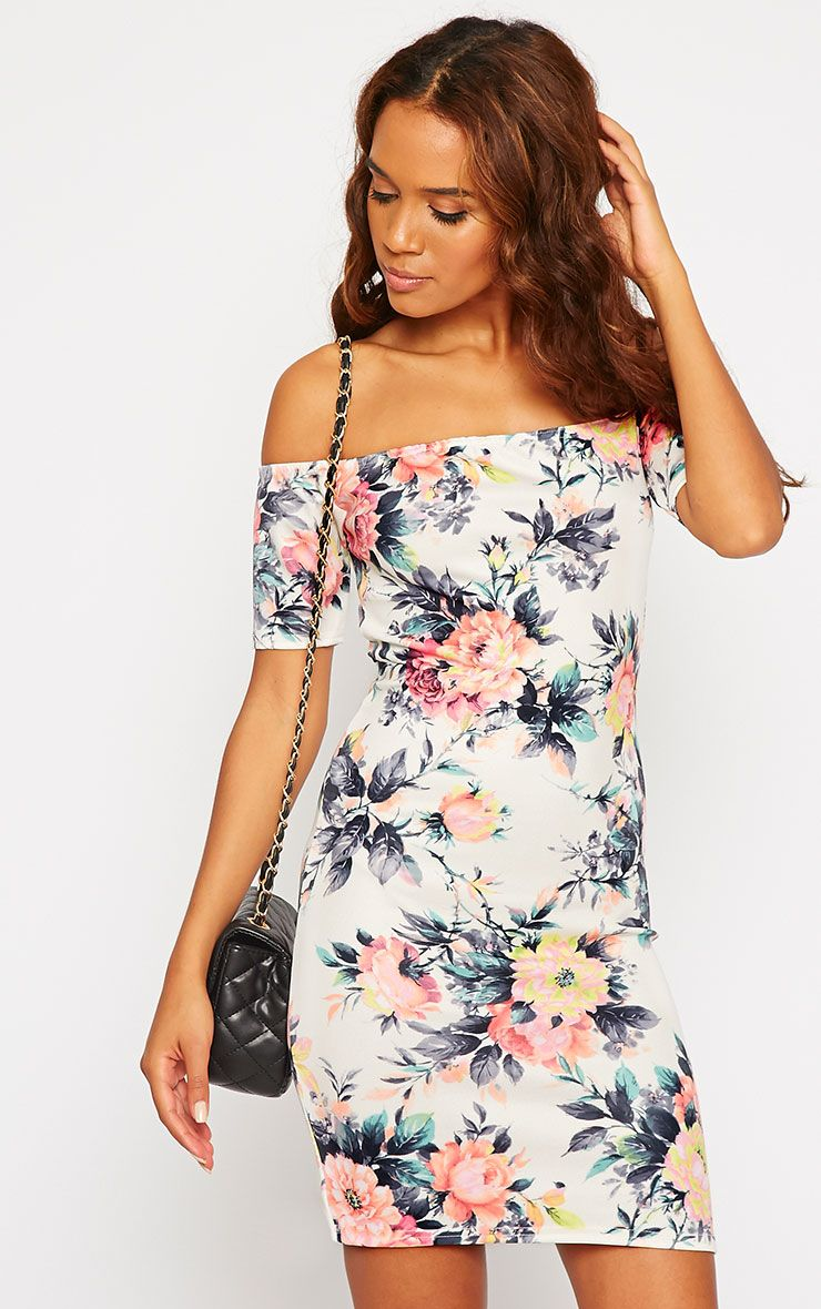 Tobiah Floral Print Bardot Bodycon Dress 1