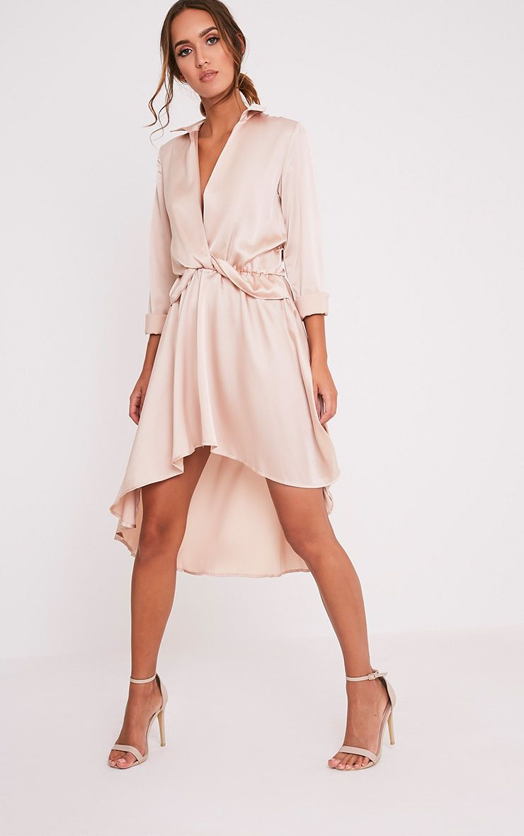 Gabbie Champagne Silky Wrap Over Midi Dress
