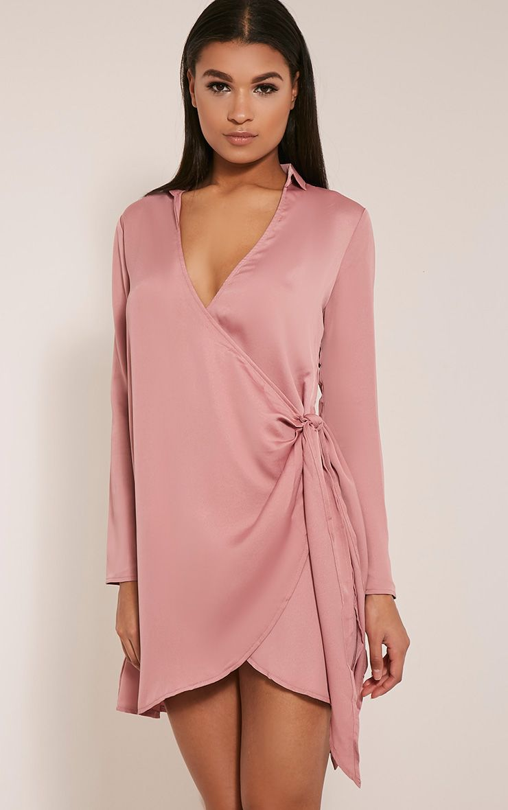Shaylene Rose Tie Side Satin Shirt Dress
