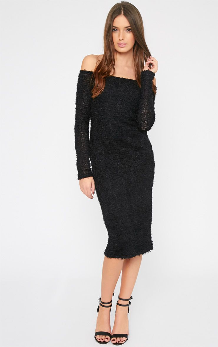 Louisa Black Fluffy Knit Midi Jumper Dress 1