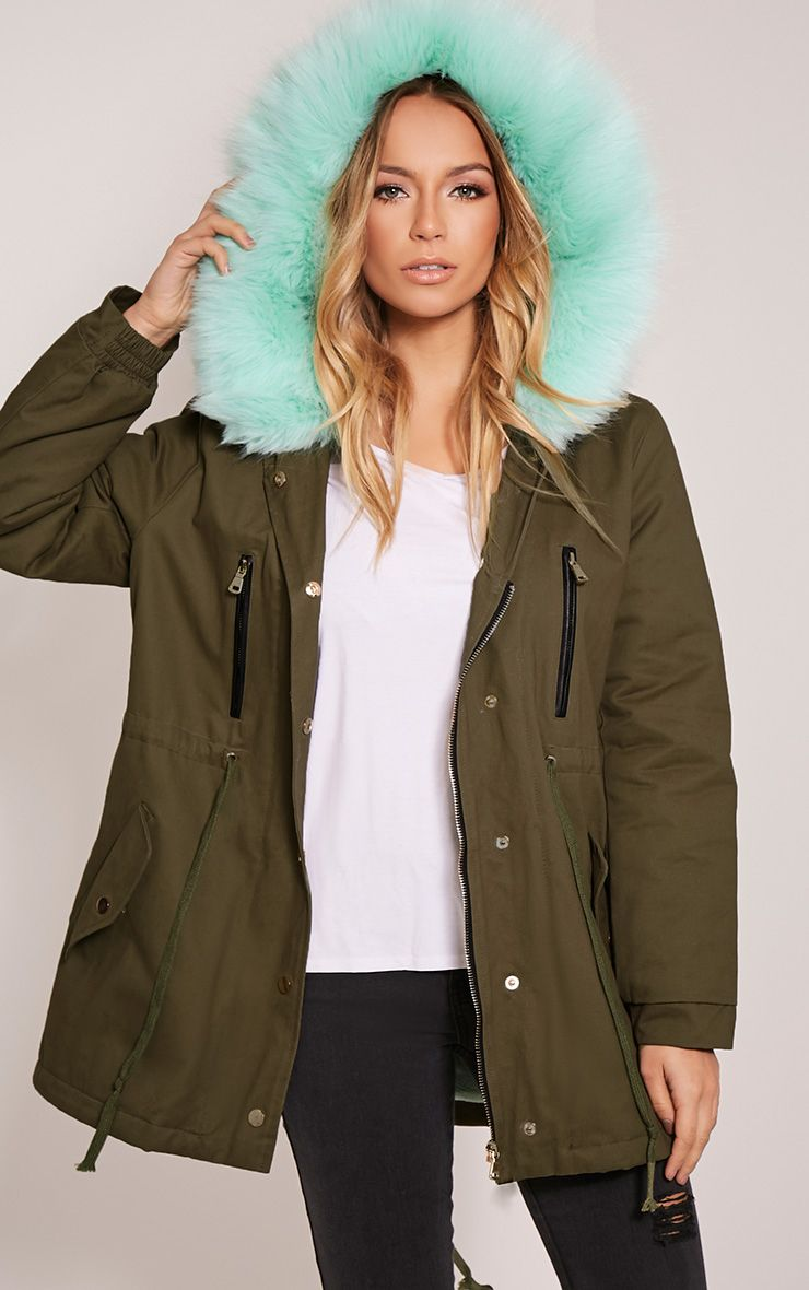 Nia Mint  Faux Fur Lined Parka 1
