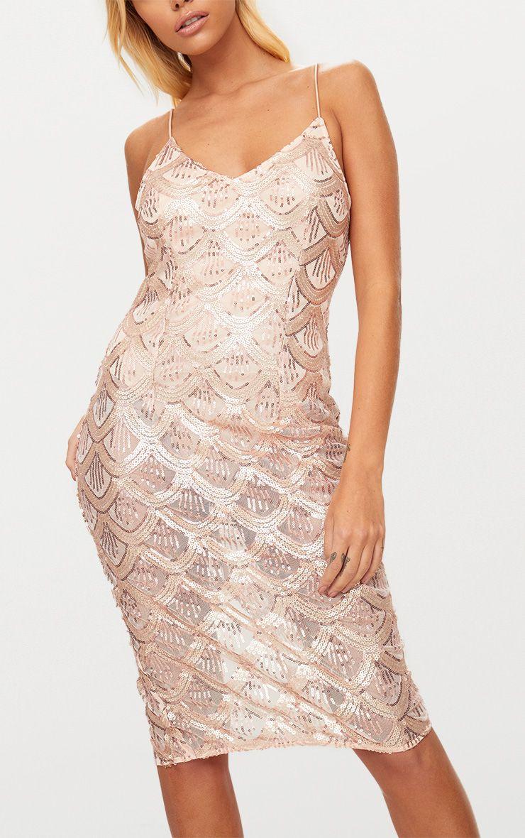 Rose Gold Sequin Mesh Plunge Bodycon Midi Dress