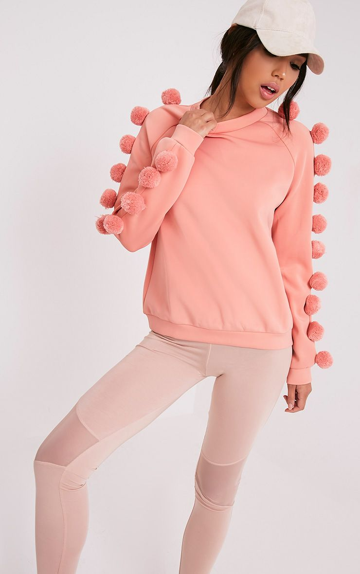 Ruby Blush Scuba Pom Pom Sleeve Sweatshirt 1