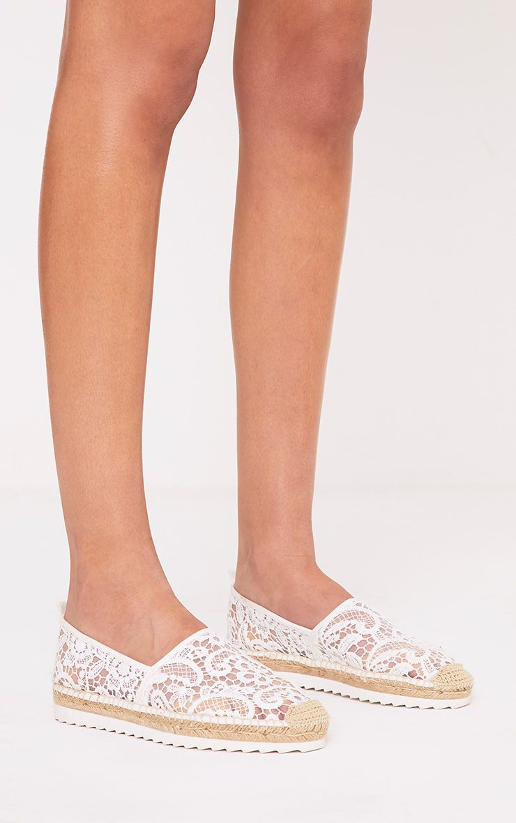 Morgana White Lace Espadrilles 1