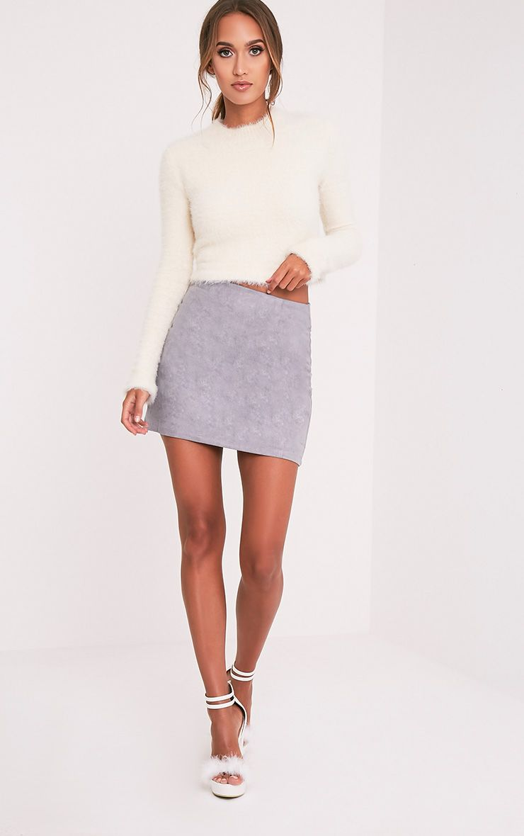 Lauree Grey Faux Suede Mini Skirt Pretty Little Thing jxtPdOWT