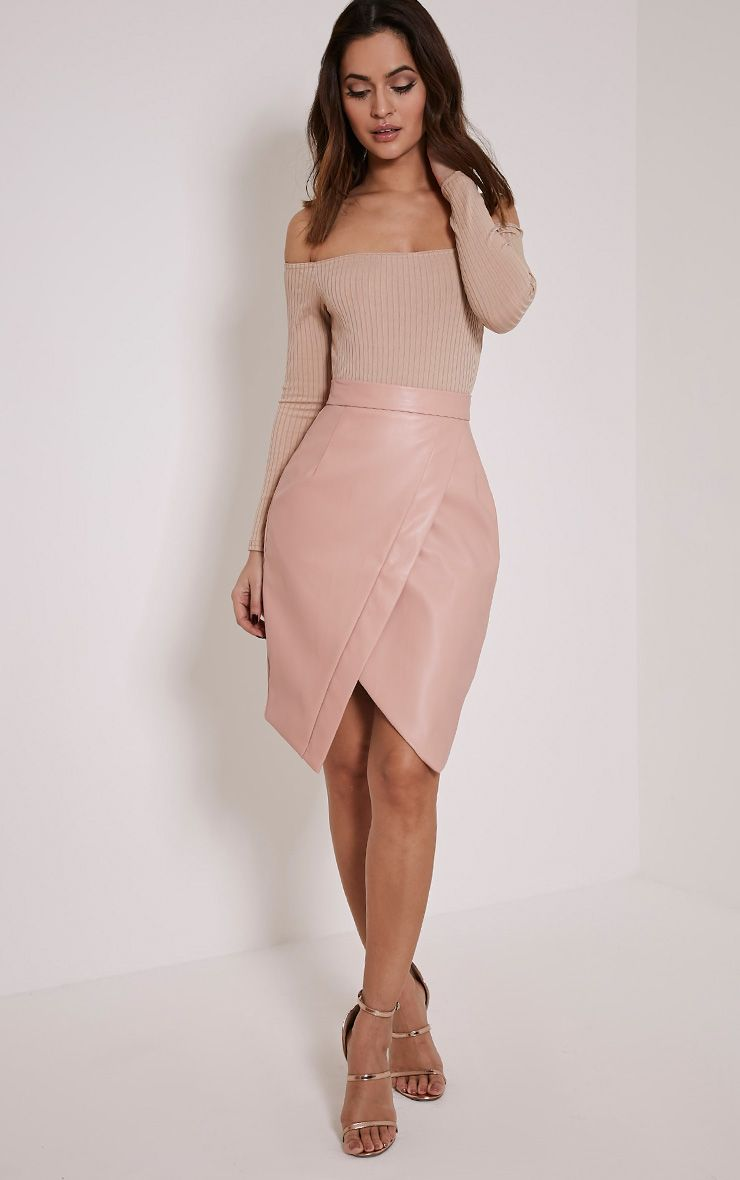 Greer Blush Faux Leather Wrap Midi Skirt