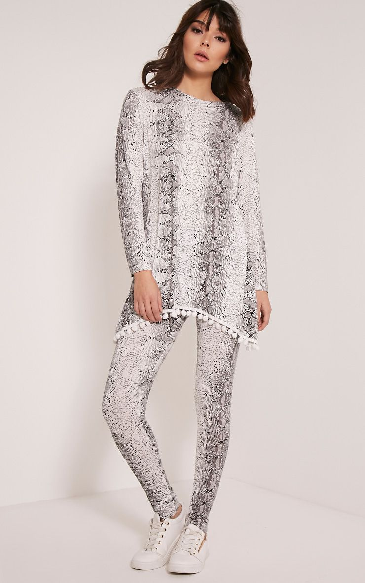 Lilly White Snake Print Loungesuit Bottoms 1