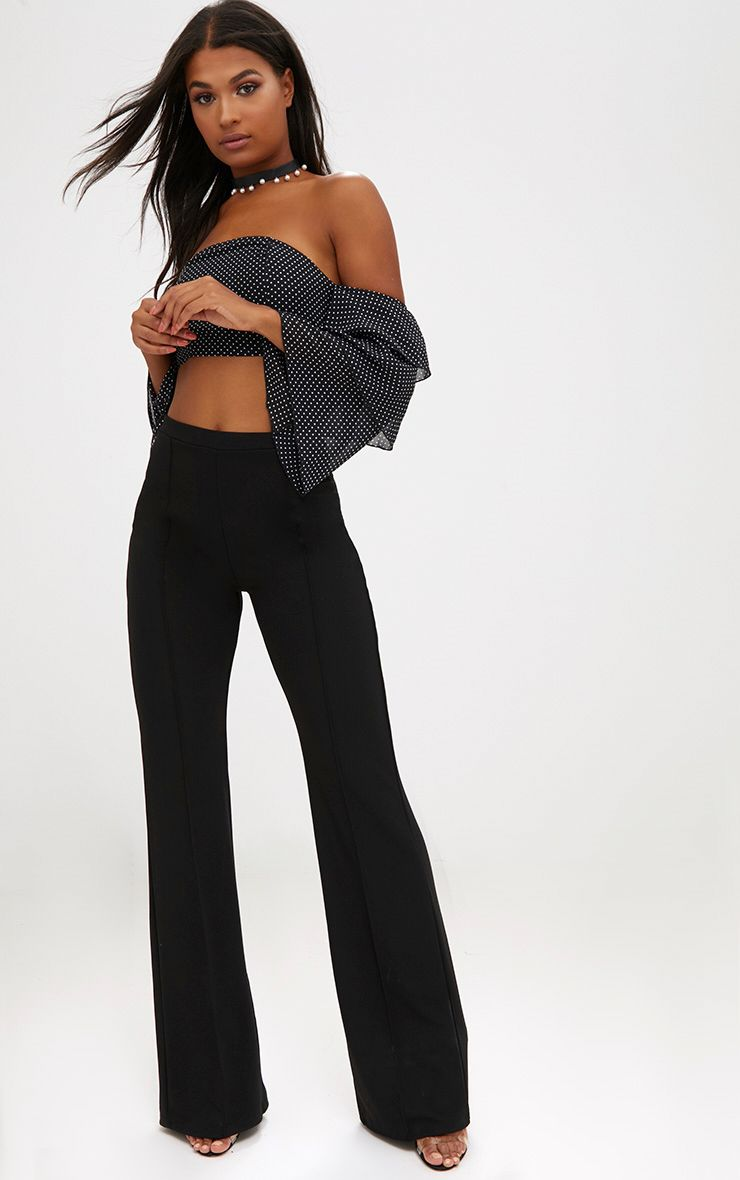 Black Front Seam Wide Leg Trousers