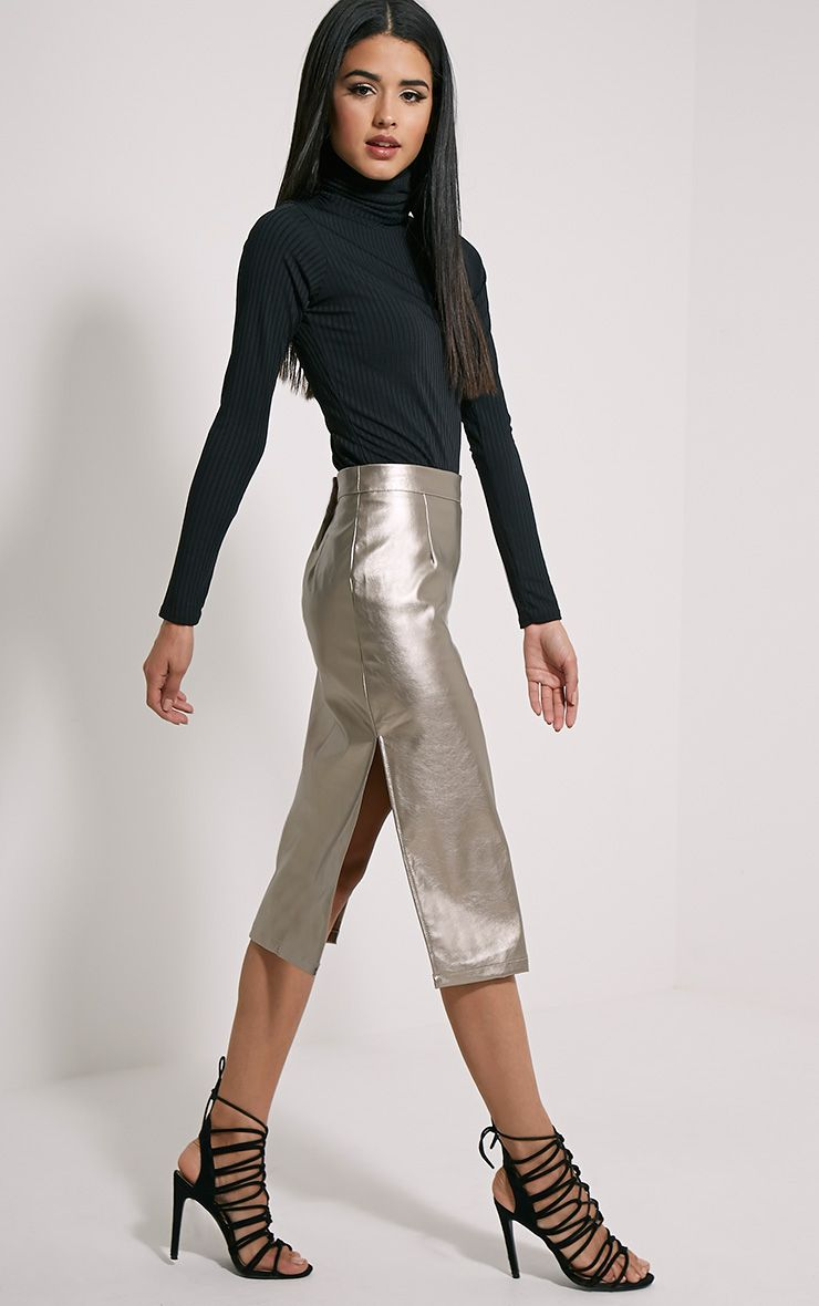 Tilda Silver Metallic Faux Leather Midi Skirt 1