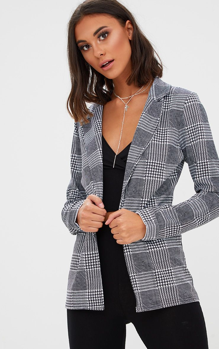 Black Check Long line Blazer