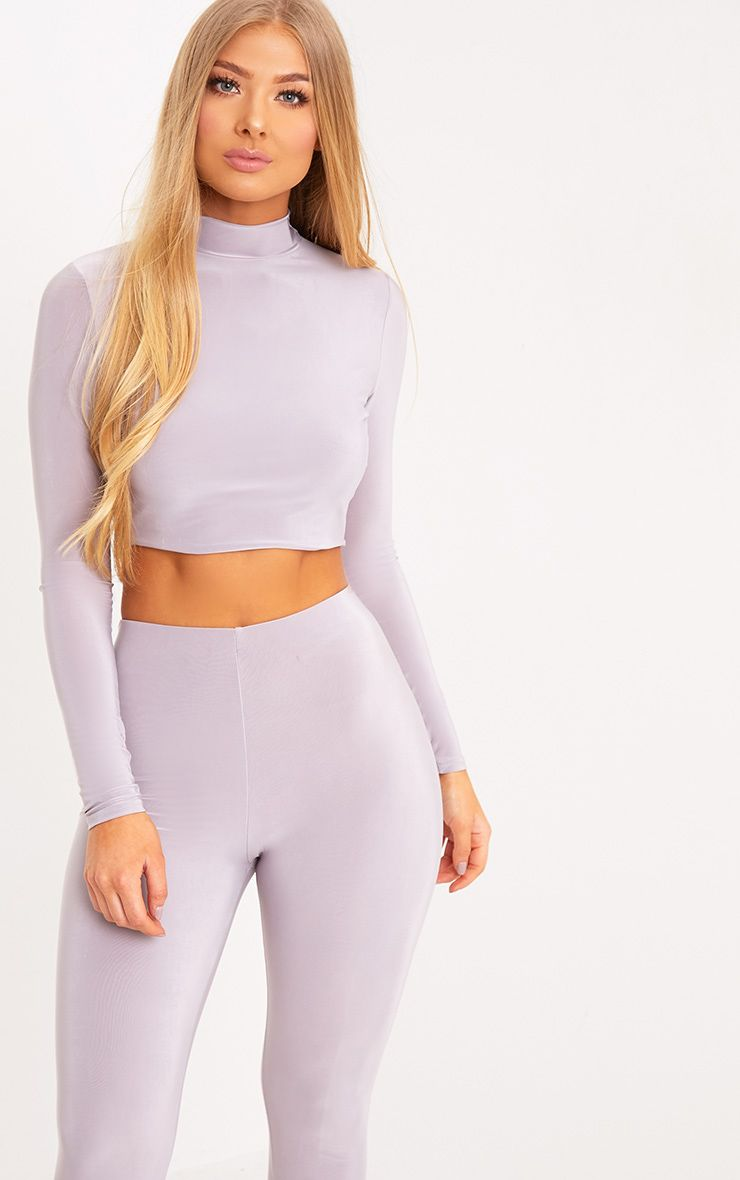 Rio Lilac Grey Slinky High Neck Longsleeve Crop Top