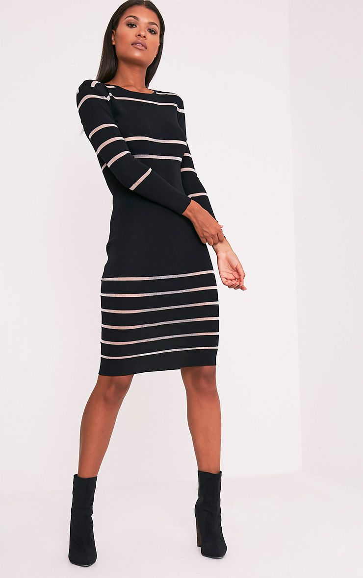 Serene Black Mesh Panel Knitted Midi Dress 1