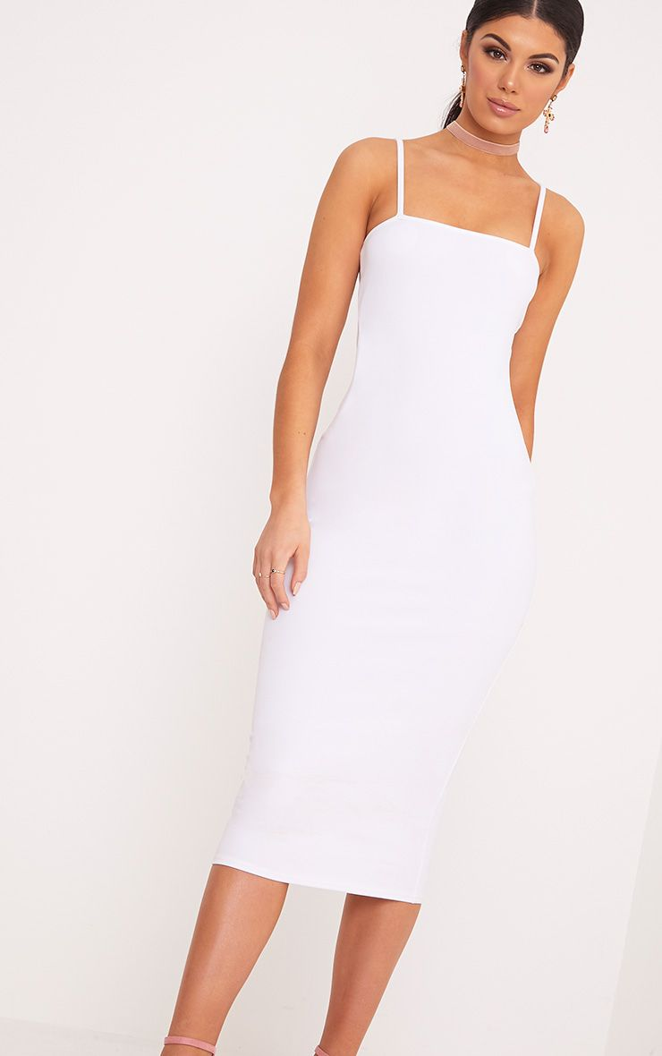 Jamila White Straight Neck Midi Dress