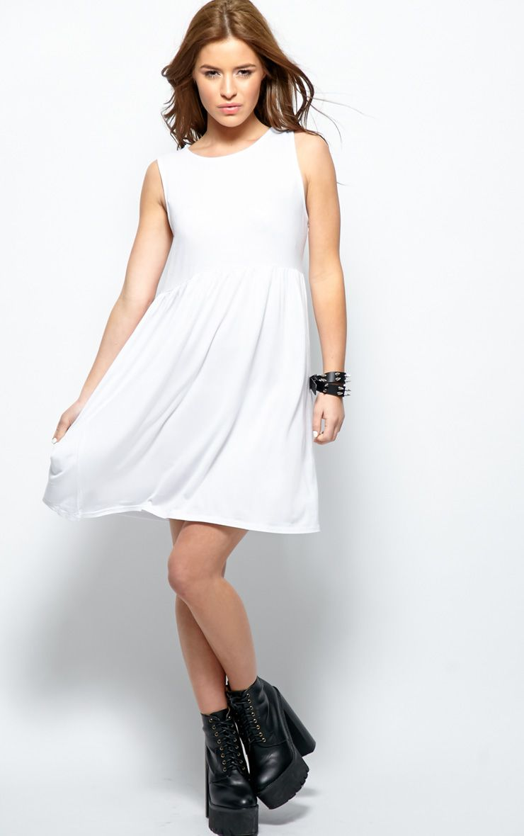Kirsten White Sleeveless Smock Dress  1