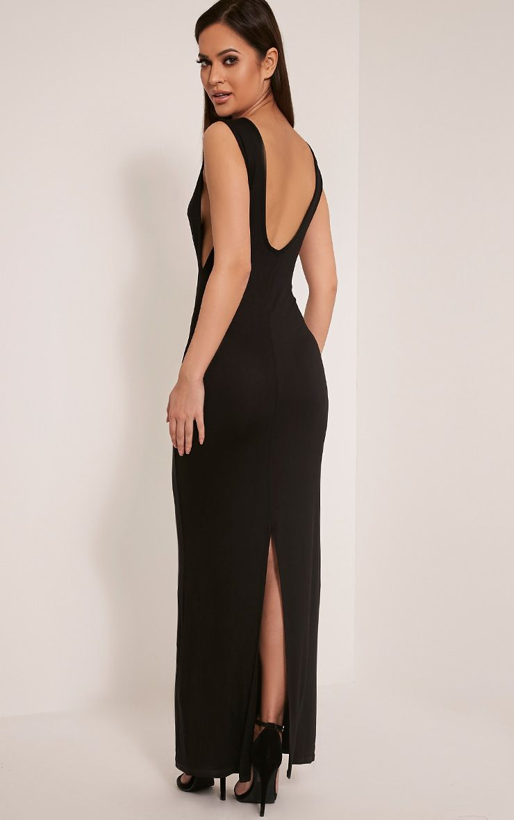 Basic Black Drop Armhole Maxi Dress