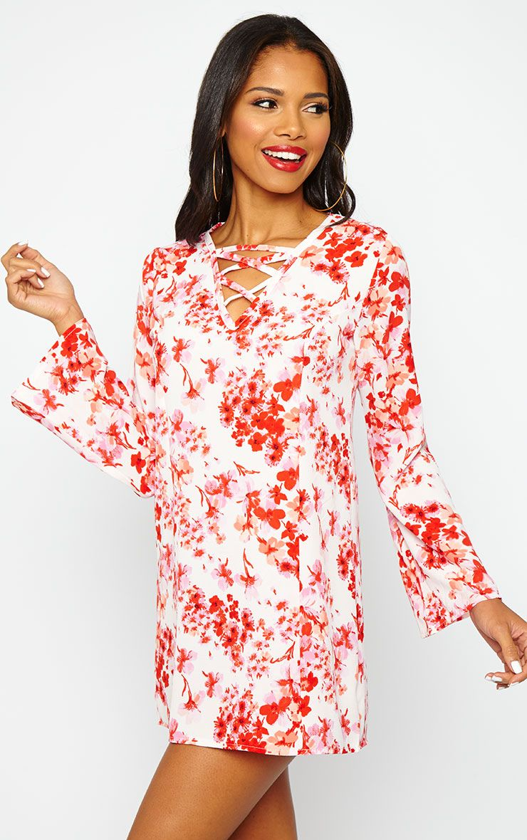 Liz Floral Cross Front Crepe Loose Fit Swing Dress 1