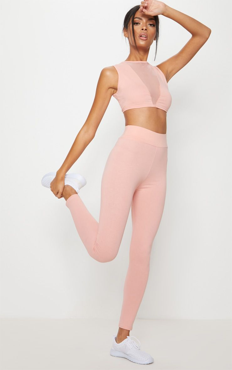 Pink Cotton High Waisted Sports Leggings