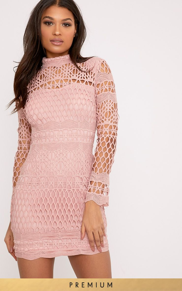 Lexi Dusty Pink Crochet Bodycon Dress