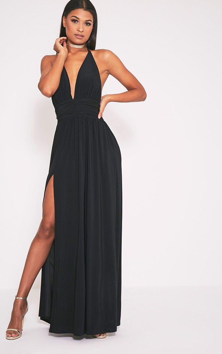 Niku Black Halterneck Ruched Detail Dress 1