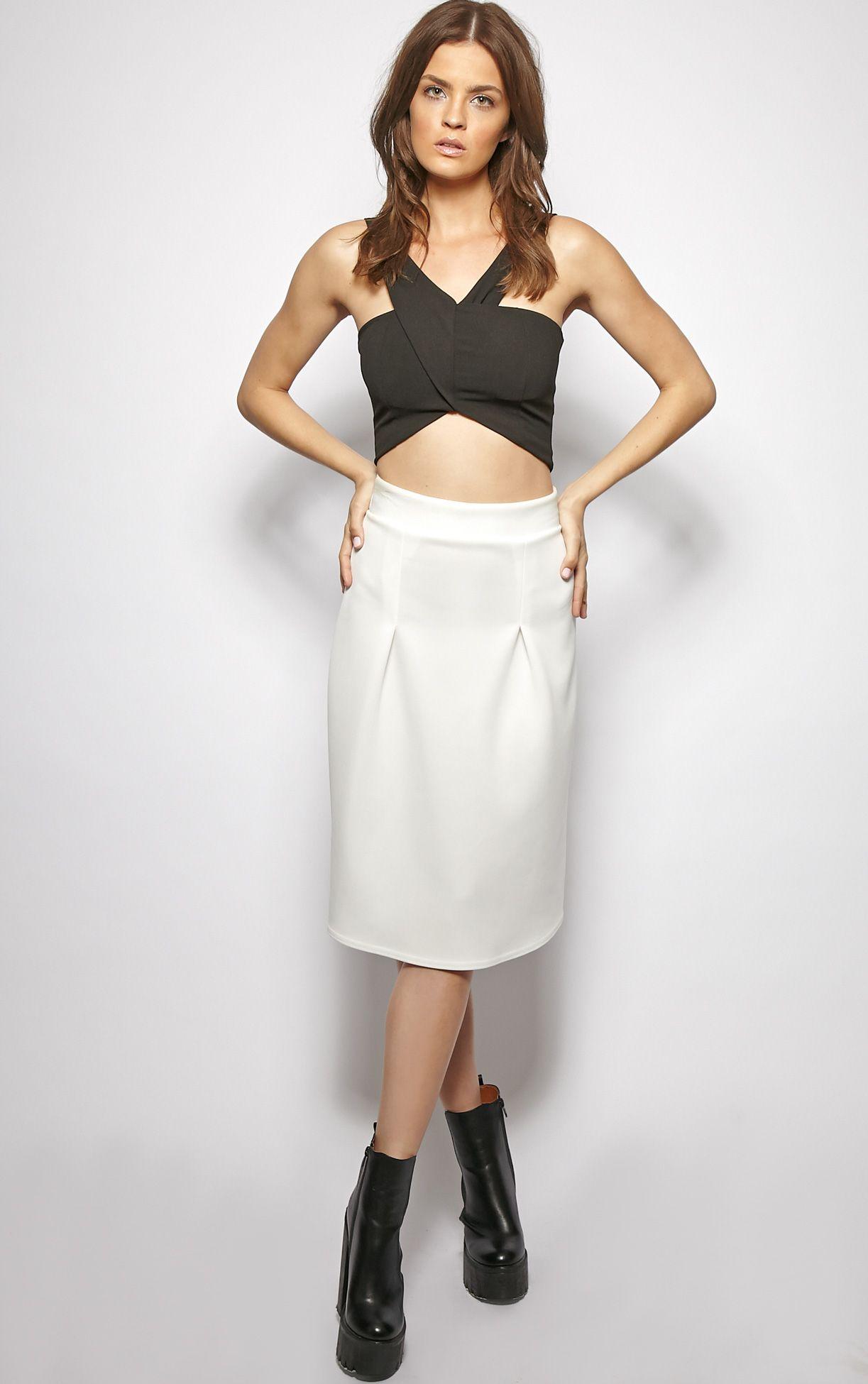 Clarissa White A Line Midi Skirt  1