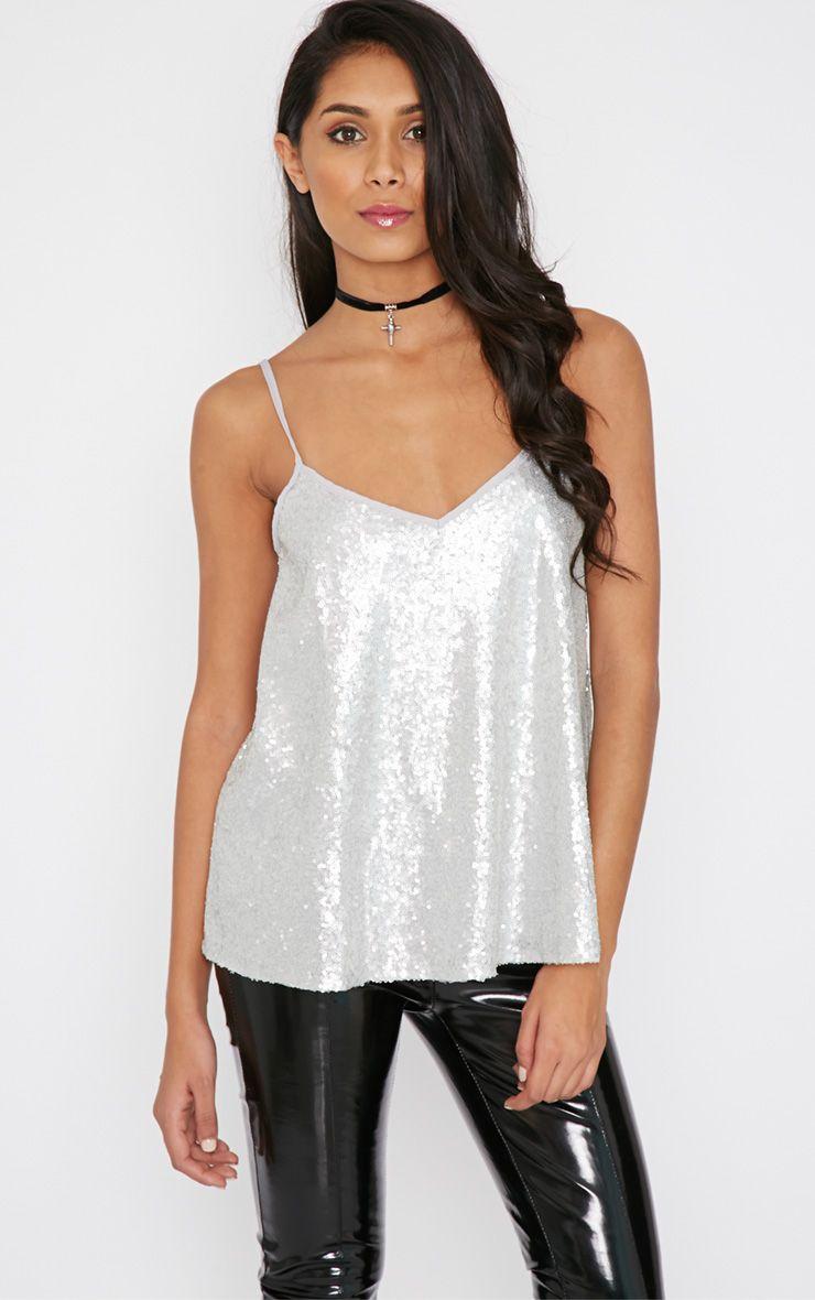 Sonia Silver Sequin Vest 1