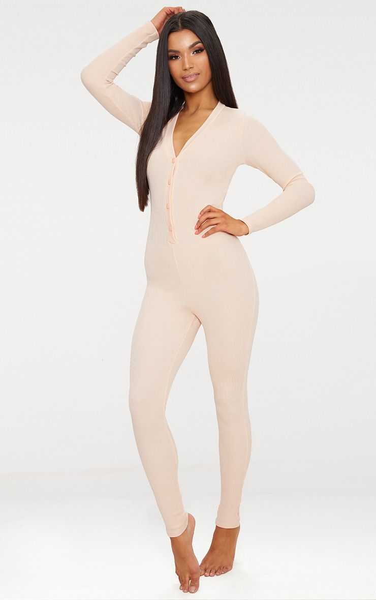 Pale Pink Ribbed Button Detail Onesie