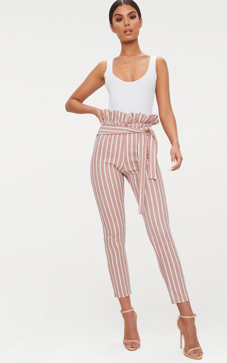 Stone Pinstripe Paperbag Skinny Trousers