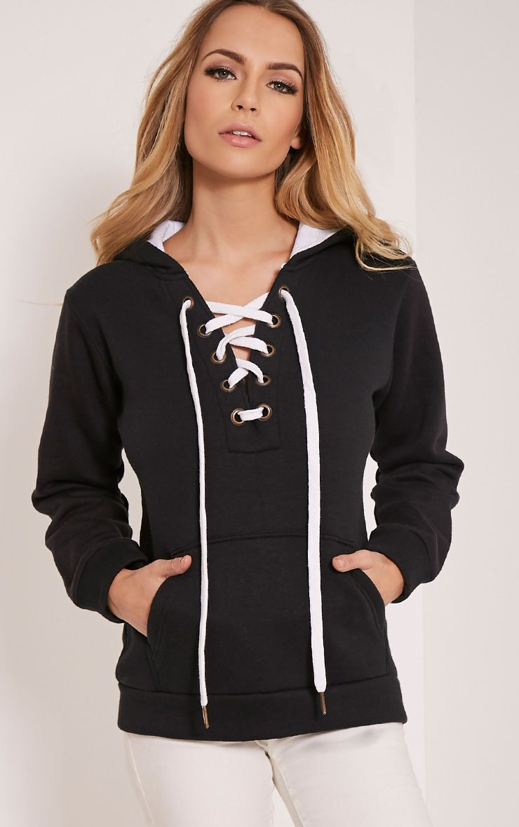 Isla Black Lace Up Hoodie 1