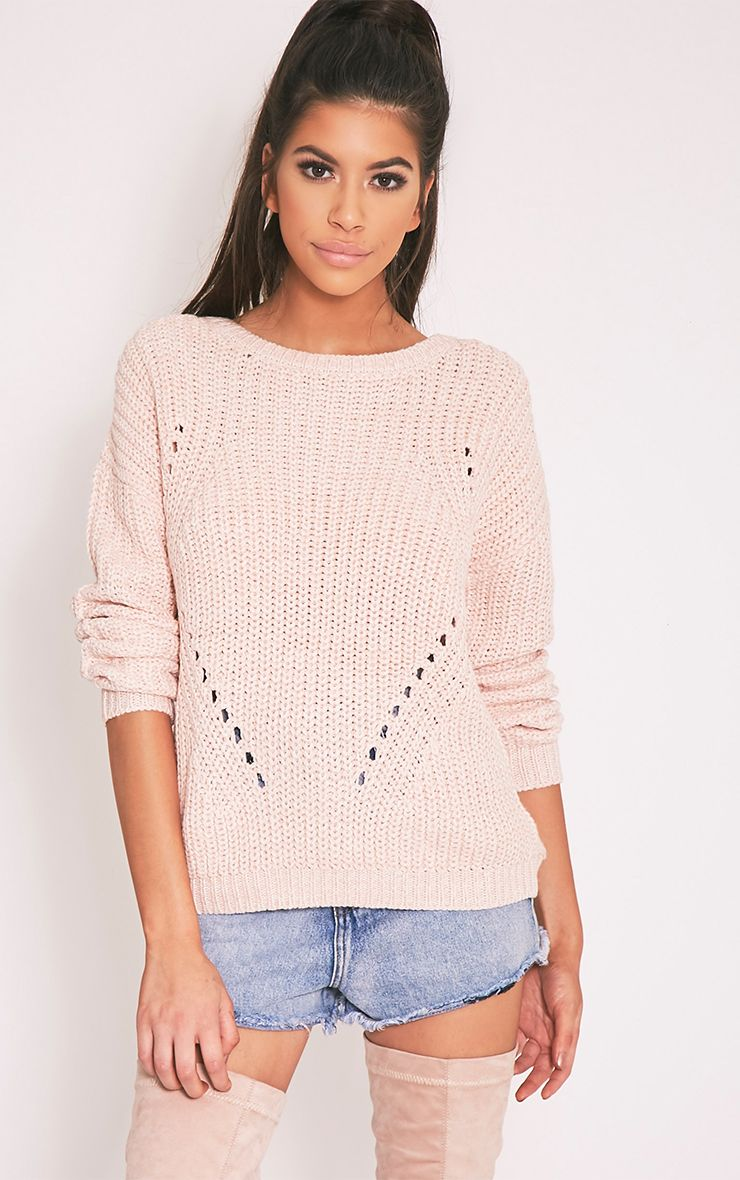 Pauline Pink Scoop Neck Knitted Jumper 1