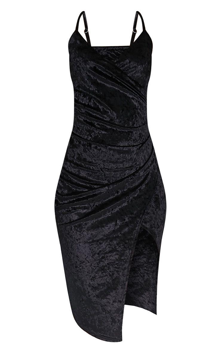 Prina Black Crushed Velvet Strappy Wrap Over Midi Dress 3