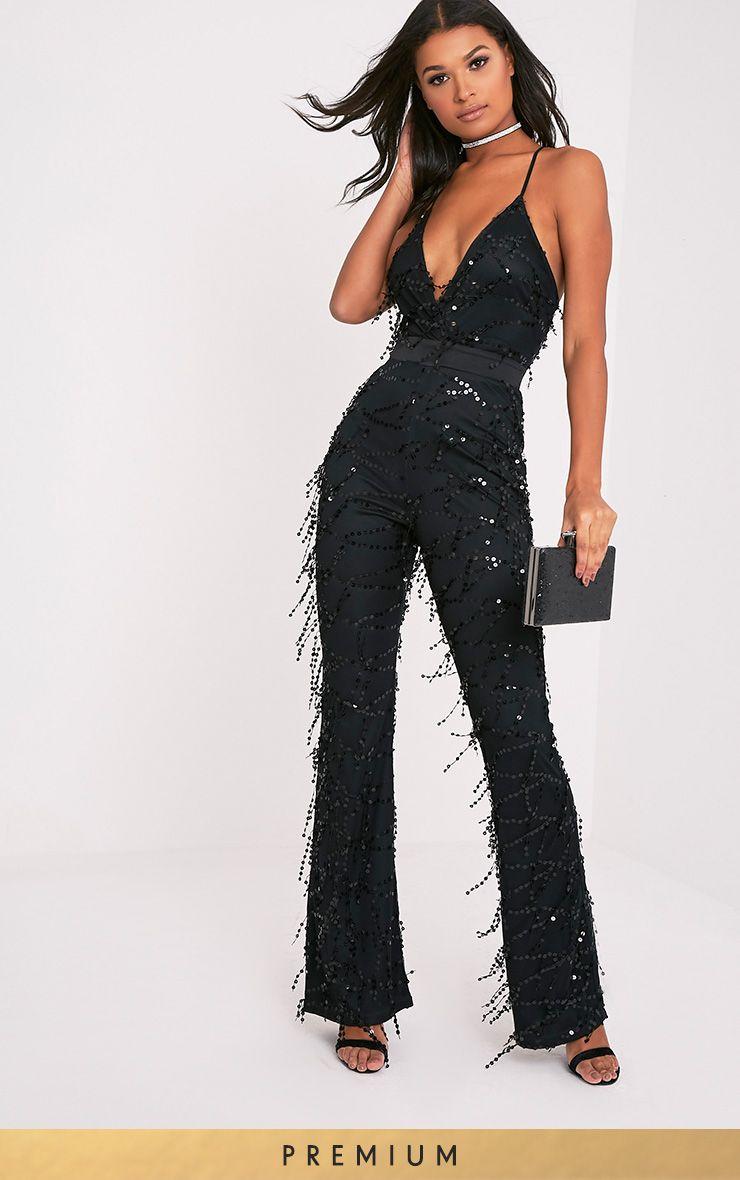 Ysabelle Black Sequin Plunge Satin Waist Jumpsuit
