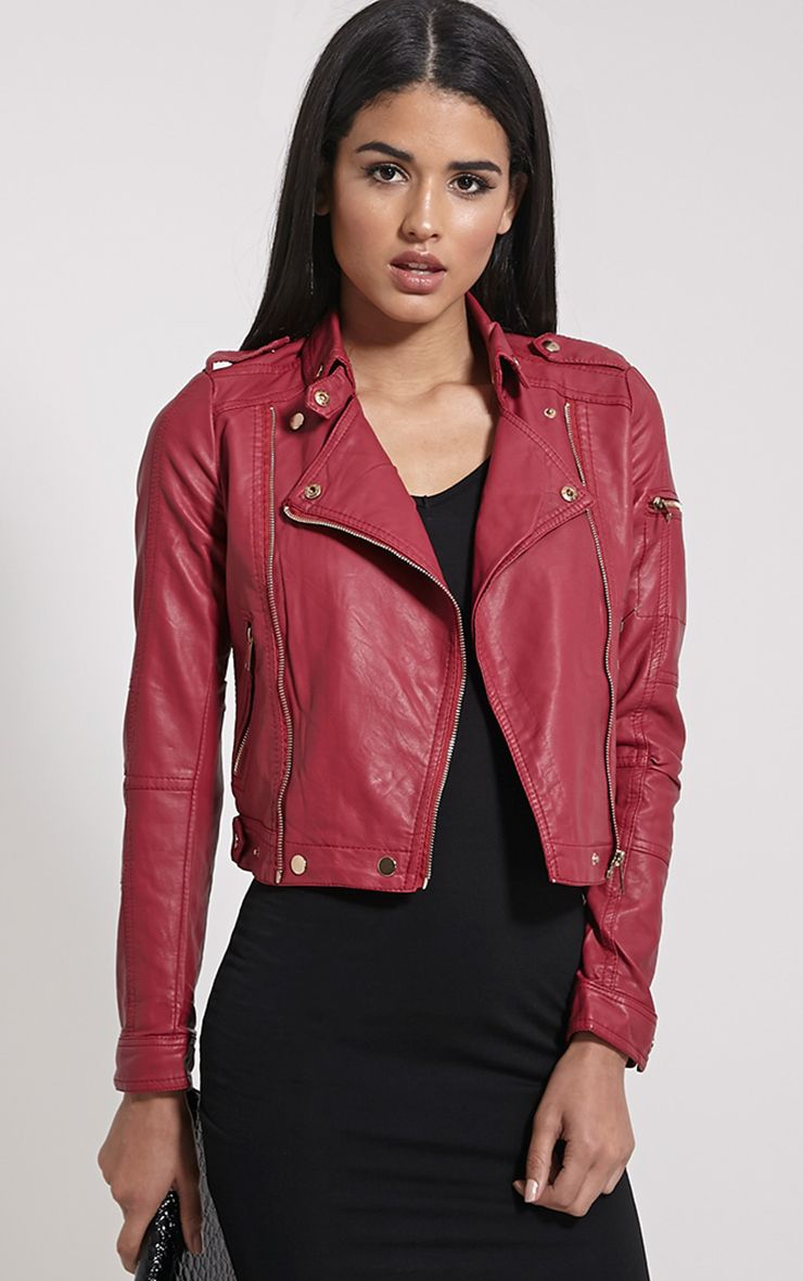 Blake Burgundy Faux Leather Biker Jacket 1