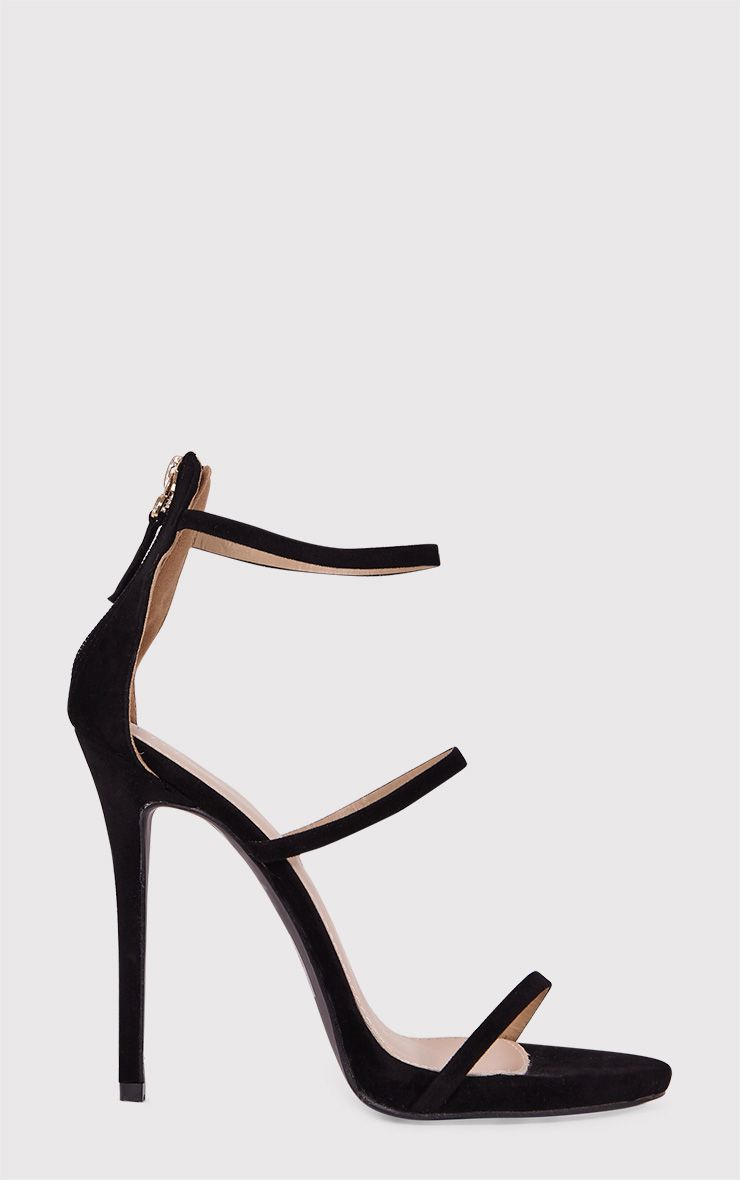 Asara Black Faux Suede Heeled Sandals
