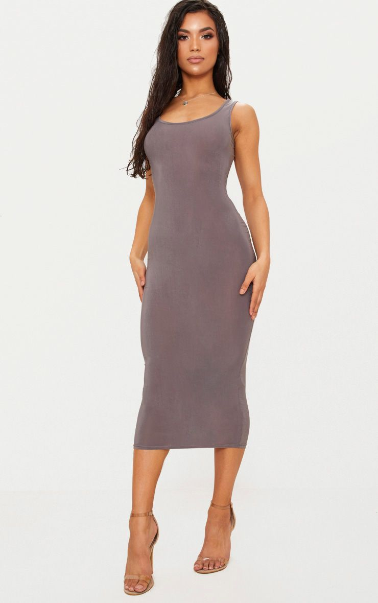 Charcoal Grey Scoop Neck Low Back Midaxi Dress