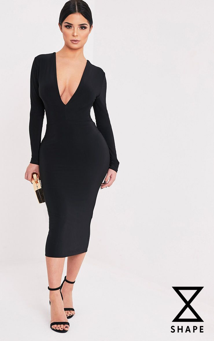 Shape Dennie Black Plunge Slinky Midi Dress