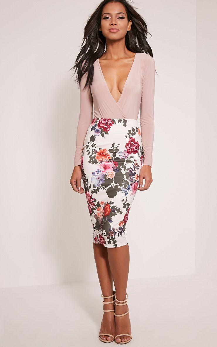 Francesca Cream Floral Print Scuba Midi Skirt 1