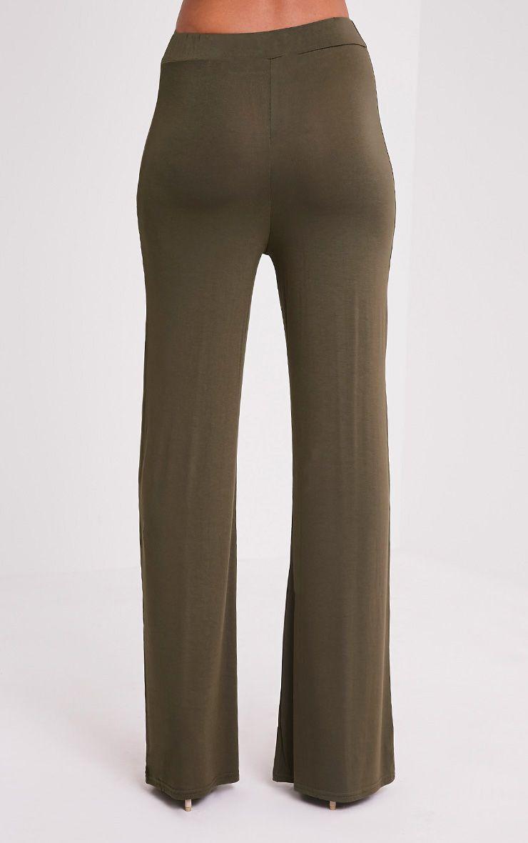 Basic Khaki Jersey Wide Leg Trousers 5