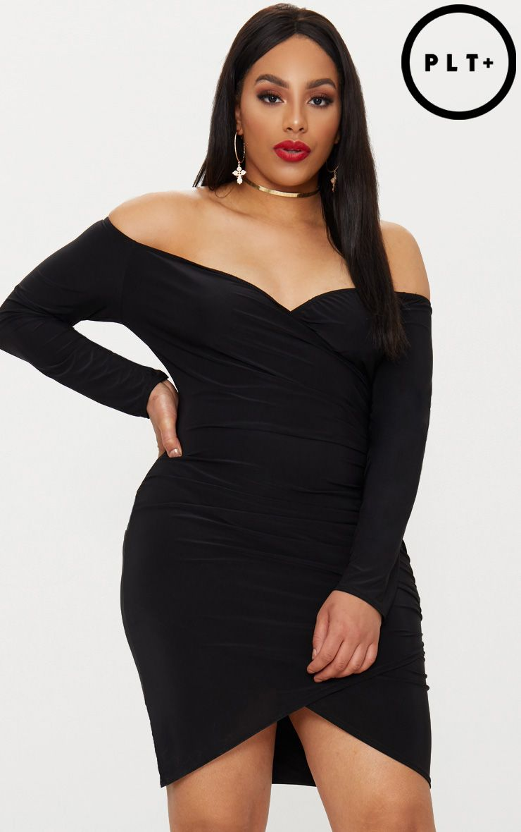 Plus Black Slinky Ruched Detail Bardot Bodycon Dress Pretty Little Thing