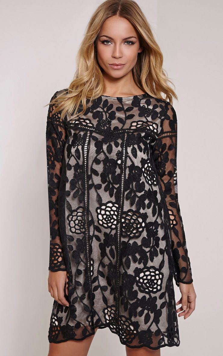 Jay Black Lace Detail Shift Dress 1
