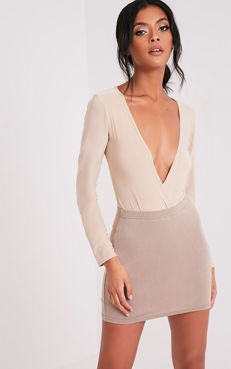 Basic Taupe Jersey Mini Skirt
